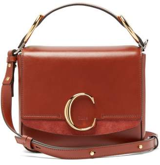 Chloé The C Squared Leather And Suede Cross Body Bag - Womens - Dark Brown