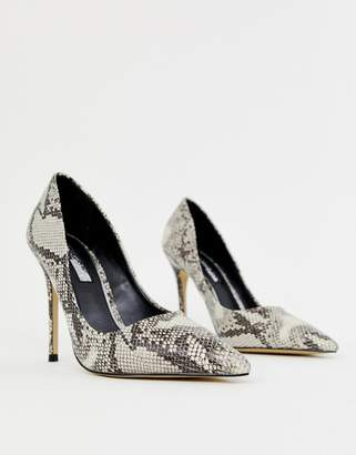 Miss Selfridge pointed court heels in grey snake