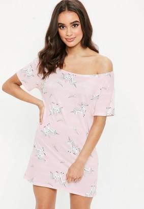 Missguided Pink Unicorn Print Night Tee