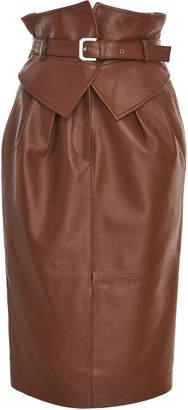 Alberta Ferretti Belted Leather Pencil Midi Skirt Size: 48