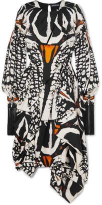 Alexander McQueen Asymmetric Cutout Printed Silk-satin Midi Dress - Black