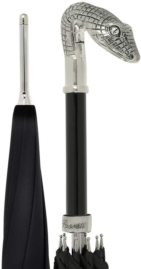 Pasotti Black Unisex Umbrella w/Silvertone Snake Head Handle