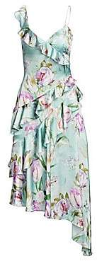 Theia Women's Asymmetrical Floral Ruffle Dress
