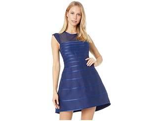 Halston Cap Sleeve Scoop Neck Satin Strip Structured Dress