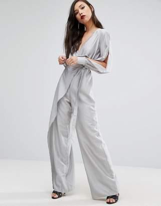Style Stalker Stylestalker Wide Leg Jumpsuit With Split Sleeves