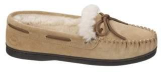 Dearfoams Women's Genuine Suede Moccasin with Tie Slippers