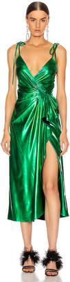 ATTICO Lame Wrap Dress in Emerald | FWRD