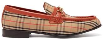 Burberry - Moorely Dalston Vintage Check Canvas Loafers - Mens - Red