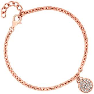 Simply Silver - 14Ct Rose Gold Plated Sterling Silver Disc Bracelet Embellished With Swarovski Crystals