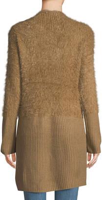 Dex Fuzzy Open-Front Knit Cardigan