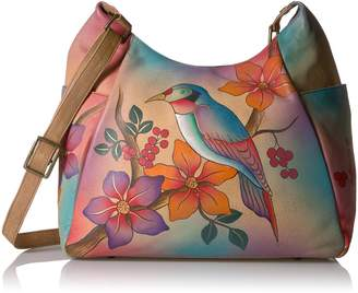 Anuschka Anna by Handpainted Leather Large Multi Pocket Hobo