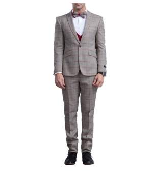 Tazio Men's Skinny Fit Glen Plaid Peak Lapel Suit