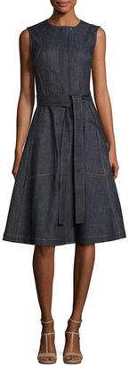 Derek Lam Denim Front-Zip Sleeveless Trench Dress, Blue $1,190 thestylecure.com