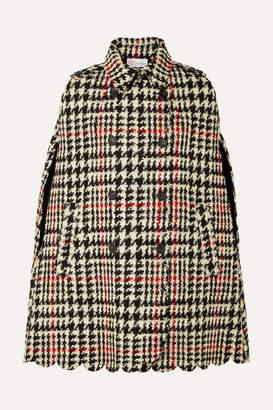RED Valentino Double-breasted Scalloped Houndstooth Wool-blend Bouclé Cape - Black