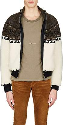 Saint Laurent Men's Fair Isle Wool-Blend Sweater Jacket