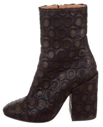 Dries Van Noten Jacquard Round-Toe Ankle Boots Black Jacquard Round-Toe Ankle Boots