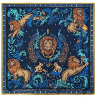 Aspinal of London Lion Peacock Silk Scarf In Teal Navy