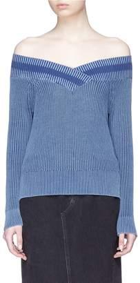 Rag & Bone 'Dawn' varsity stripe off-shoulder rib knit sweater
