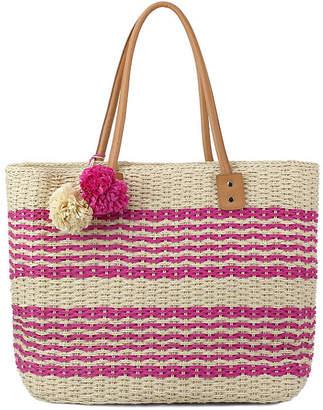 OLIVIA MILLER Olivia Miller Poppy Multi Striped Straw Tote Bag
