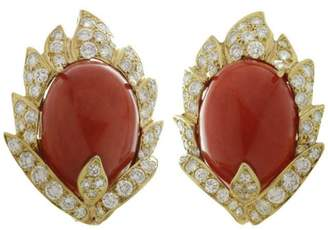 Vourakis Yellow Gold Natural Oxblood Coral Diamond Clip-on Earrings