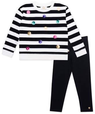 Kate Spade Striped Sequin Dot Sweatshirt W/ Solid Leggings, Size 2-6x