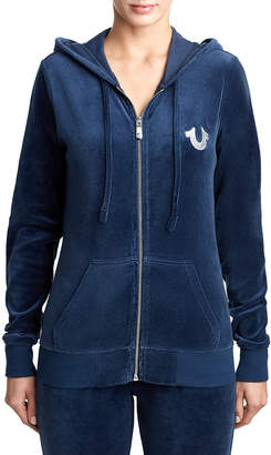True Religion WOMENS METALLIC VELOUR ZIP UP HOODIE