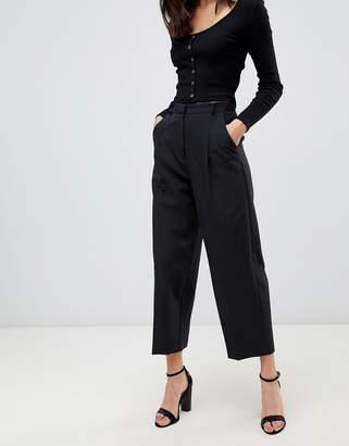 Miss Selfridge cropped barrel leg pants in black