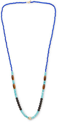 Luis Morais Bead, Gold-Tone and Multi-Stone Necklace