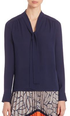 Diane von Furstenberg Britni Tie Neck Blouse $278 thestylecure.com