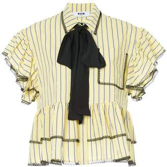 MSGM pinstripe ruffled blouse