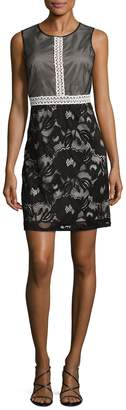 Adrianna Papell Women's Embroidered Mesh Flared Dress