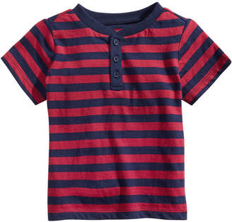 First Impressions Baby Boys Striped Cotton Henley T-Shirt