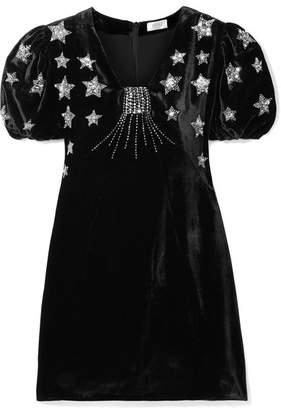 RIXO London - Bambi Sequin-embellished Velvet Mini Dress - Black