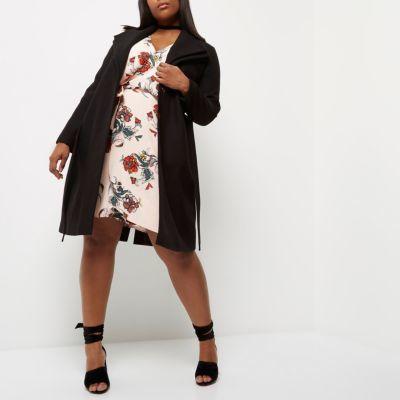 River IslandRiver Island Womens Plus black double collar robe coat