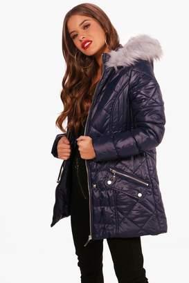 boohoo Petite Ellie Padded Drawstring Faux Fur Hooded Coat
