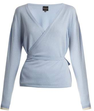 Pepper & Mayne - V Neck Cashmere Wrap Top - Womens - Light Blue