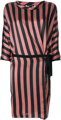 Ann Demeulemeester striped wrap detail dress