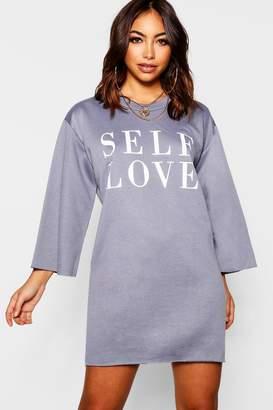 boohoo Self Love Raw Edge Sweatshirt Dress