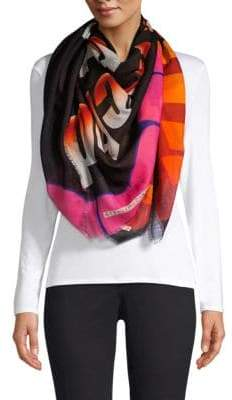 Stella McCartney Stellar Trip Printed Wool& Silk Scarf