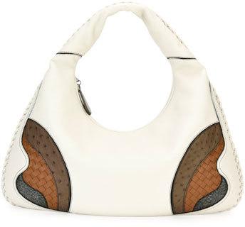 Bottega VenetaBottega Veneta Veneta Patchwork Large Hobo Bag, White/Brown