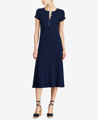 Lauren Ralph Lauren Waffle-Knit Cotton Midi Dress $99.50 thestylecure.com
