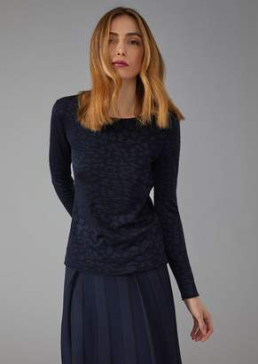 Giorgio Armani Sweater In Viscose And Wool With Jacquard Animal Pattern