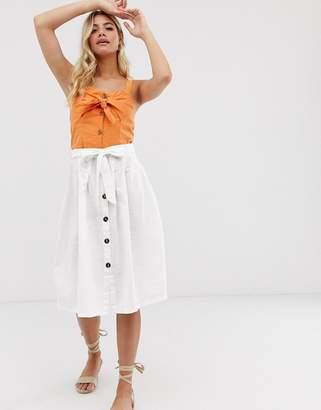 Pimkie button front midi skirt in white