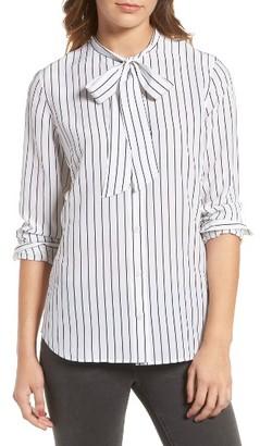 Women's Ag Claire Stripe Silk Shirt $298 thestylecure.com