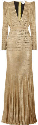Murad Zuhair Embellished Metallic Ribbed-knit Gown - Gold