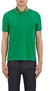 Gucci Men's Tiger-Embroidered Cotton-Blend Polo Shirt - Green