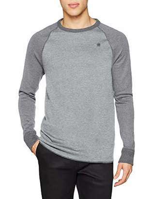 G Star Men's Jirgi T-Shirt Long Sleeve Top, Multicolour (Metal Grey carbid HTR A143)