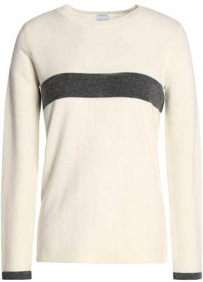 Madeleine Thompson Woman Leo Striped Wool And Cashmere-blend Top Ivory Size L Madeleine Thompson Cheap Sale Pictures ieei6S