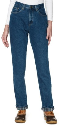 L.L. Bean L.L.Bean Women's Double LA Jeans, Relaxed Fit Flannel-Lined