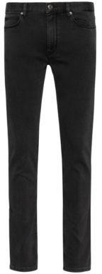 HUGO Extra-slim-fit jeans in knitted black stretch denim
